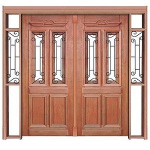 Porta de Abrir (Giro) Duquesa 002 C/ Visor C/ 2 Folhas em Madeira Cedro Arana S/ Ferragem Batente 14 Cm - Casmavi