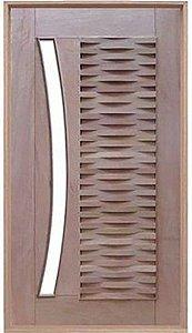 Porta de Abrir Pivotante Ripada para Vidro Arco em Madeira Cedro Arana Montada no Batente de 14 Cm com Pivô - Casmavi