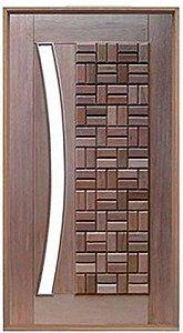 Porta de Abrir Pivotante Clássica para Vidro Arco em Madeira Cedro Arana Montada no Batente de 14 Cm com Pivô - Casmavi