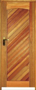 Porta Mexicana Diagonal Mista Maciça c/ Batente de 11 cm Misto c/ Fechadura Taco de Golf - Rick Esquadrias