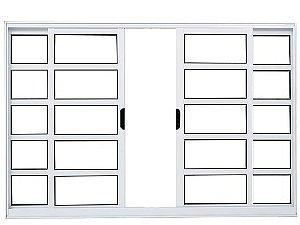 Janela Correr 4 Folhas S/ Grade C/ Travessa Alumínio Branco Req. 5 cm - Linha Fortsul - Esquadrisul