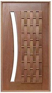 Porta de Abrir Pivotante Couro Longo para Vidro Arco em Madeira Cedro Arana Montada no Batente de 14 Cm com Pivô - Casmavi