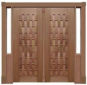 Porta Pivotante Couro Longo 110 C/ 2 Folhas em Madeira Cedro Arana S/ Ferragem Batente 14 Cm - Casmavi