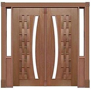 Porta de Abrir 2 Folhas Pivotante Couro Longo 115 Vidro Arco em Madeira Cedro Arana Montada no Batente de 14 Cm com Pivô - Casmavi