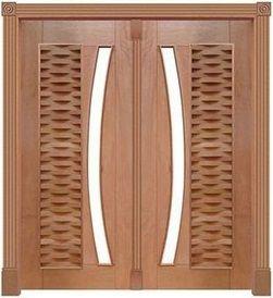Porta Pivotante Ripada 305 C/ 2 Folhas em Madeira Cedro Arana S/ Ferragem Batente 14 Cm - Casmavi