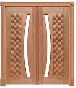 Portal Pivotante 2 Folhas Couro 370 P/ Vdr. em Arco S/ Ferragem C/ Guarnição C/ Batente de 14 Cm em Madeira Cedro Arana - Casmavi