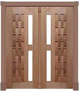 Porta Pivotante Couro Longo 375 C/ 2 Folhas em Madeira Cedro Arana S/ Ferragem Batente 14 Cm - Casmavi