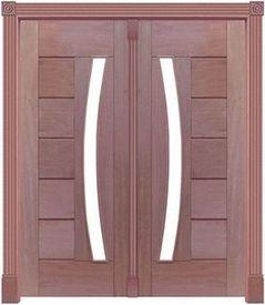 Porta Pivotante BBB 340 C/ 2 Folhas em Madeira Cedro Arana S/ Ferragem Batente 14 Cm - Casmavi