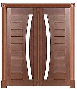 Portal Pivotante 2 Folhas Mexicana Horizontal 345 P/ Vdr. em Arco S/ Ferragem C/ Guarnição C/ Batente de 14 Cm em Madeira Cedro Arana - Casmavi