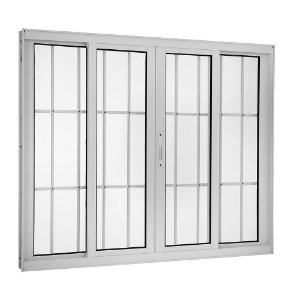 Janela Correr 4 Folhas C/ Grade Alumínio Branco Req. 9,2 cm - Linha Topsul - Esquadrisul