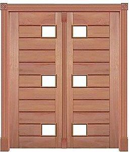 Porta Pivotante Mexicana P/ 6 Vidros 350 C/ 2 Folhas em Madeira Cedro Arana S/ Ferragem Batente 14 Cm - Casmavi