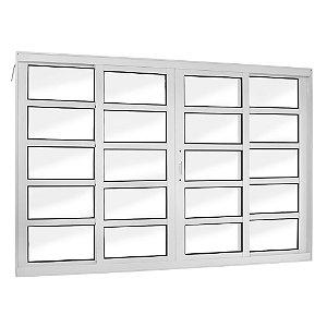 Janela Correr 4 Folhas S/ Grade Travessa Alumínio Branco Req. 7,2 cm - Linha Topsul - Esquadrisul