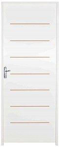 Porta Cristal HDF com primer montada Batente Eco com primer 14 cm Fechadura Externa Modena - UNIPORTAS