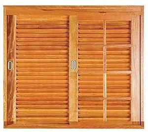 Janela Veneziana 3 Folhas Uma Fixa Reto em Madeira Cedro Arana com Ferragens Vidro Quadriculado Batente de 14 Cm - Casmavi