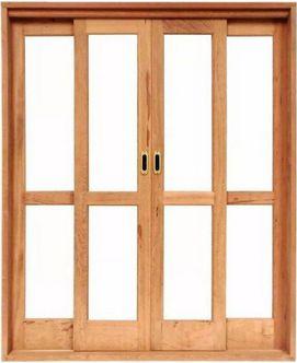 Porta de Correr 4 Folhas Reta Panorâmica S/ Vidro C/ Fechadura em Madeira Cedro Arana C/ Ferragem Batente 14 Cm - Casmavi