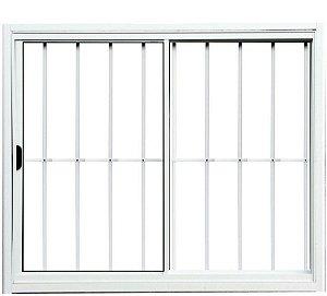Janela de Correr 2 Fls Sem Bandeira Com Grade Alumínio Branco - SPJ Modular