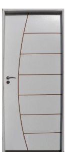 Porta Belissima HDF com primer montada Batente Eco com primer 14 cm Fechadura Externa Modena - UNIPORTAS