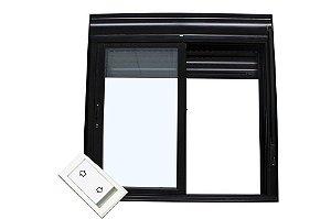Janela Integrada Em Alumínio Preto Duas Folhas Móveis Acionamento automático por interruptor Vidro Liso - Jap Taparella Caribe Max
