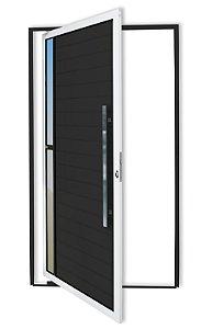 Porta Pivotante Lambril Visione C/ Puxador Milão Polido C/ Fechadura Rolete em Alumínio Mix Preto C/ Vidro Liso - Brimak Super 25