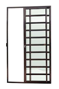 Porta de Correr 2 Folhas (1 Fixa) c/ Travessa Fechadura em Alumínio Corten c/ Vidro Liso - Brimak Super 25