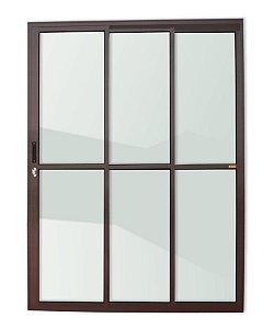 Porta de Correr 3 Folhas (1 Fixa) c/ Fechadura em Alumínio Corten c/ Vidro Liso - Brimak Super 25