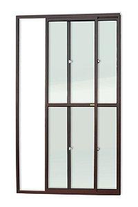 Porta de Correr 2 Folhas (1 Fixa) c/ Trinco em Alumínio Corten c/ Vidro Liso - Brimak Super 25