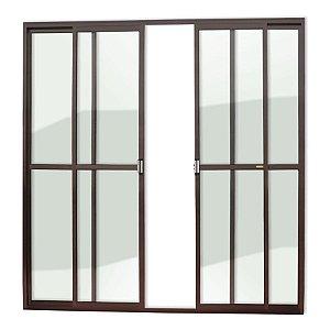 Porta de Correr 4 Folhas c/ Trinco em Alumínio Corten c/ Vidro Liso - Brimak Super 25