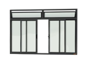 Janela de Correr 4 Folhas c/ Bandeira s/ Grade em Alumínio Preto c/ Vidro Liso - Brimak Plus