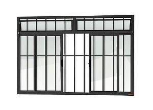 Janela de Correr 4 Folhas c/ Bandeira c/ Grade em Alumínio Preto c/ Vidro Liso - Brimak Plus