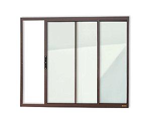 Janela de Correr 2 Folhas s/ Grade em Alumínio Corten c/ Vidro Liso - Brimak Confort