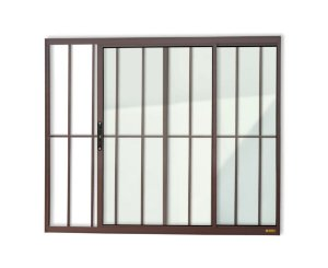 Janela de Correr 2 Folhas c/ Grade em Alumínio Corten c/ Vidro Liso - Brimak Confort