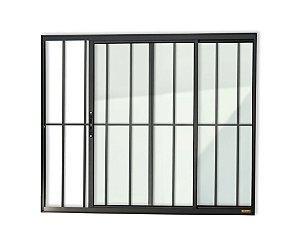 Janela de Correr 2 Folhas c/ Grade em Alumínio Preto c/ Vidro Liso - Brimak Confort