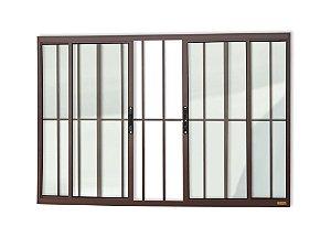 Janela de Correr c/ Grade em Alumínio Corten c/ Vidro Liso - Brimak Confort