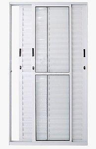 Porta Balcão 3 folhas Móveis C/Fechadura Alumínio Branco VDR. Liso - Linha 25 Esax -