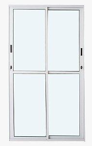 Porta de Correr 2 folhas Móveis C/Fechadura Alumínio Branco VDR. Liso - Linha 25 Esax -