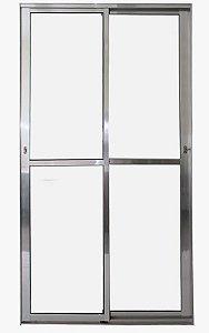 Porta de Correr 2 folhas Móveis C/Fechadura Alumínio Brilhante VDR. Liso - Linha 25 Esax -
