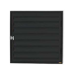 Porta Abrigo D'Água / Gás 1 Folha c/ Ventilação em Alumínio Preto - Brimak Plus
