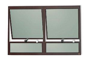 Maxim-Ar 2 Seções c/ Bandeira Fixa Inferior em Alumínio Corten c/ Vidro Mini Boreal - Brimak Plus