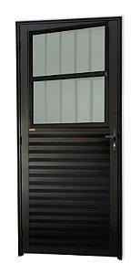 Porta de Sala Social c/ Grade em Alumínio Preto c/ Vidro Mini Boreal - Brimak Super 25