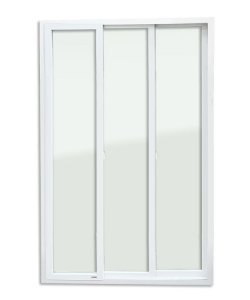 Porta de Correr 3 Folhas Móveis em PVC c/ Cremona c/ Vidro Temperado - Brimak Itec