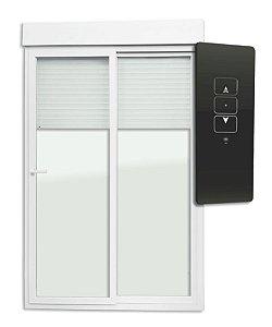 Porta de Correr 2 Folhas Móveis em PVC Acionamento por Controle Remoto c/ Cremona c/ Motor c/ Vidro Liso Temperado - Brimak Itec