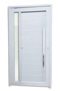Porta Pivotante Visione em PVC c/ Puxador Milão Polido 100 cm c/ Fechadura Rolete c/ Vidro Temperado - Brimak TecPlus 100