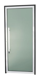 Porta Murano C/ Puxador Milão Polido C/ Fechadura Rolete em Alumínio Mix Preto C/ Vidro Temperado de 5 Mm C/ Película - Brimak Super 25