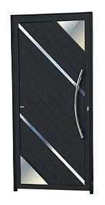 Porta Lambril Oasis c/ Puxador Athenas Polido c/ Fechadura Rolete em Alumínio Preto - Brimak Super 25