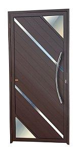 Porta Lambril Oasis c/ Puxador Athenas Polido c/ Fechadura Rolete em Alumínio Corten - Brimak Super 25