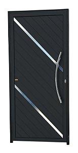 Porta Lambril Duna c/ Puxador Athenas Polido c/ Fechadura Rolete em Alumínio Preto - Brimak Super 25