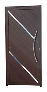 Porta Lambril Duna c/ Puxador Athenas Polido c/ Fechadura Rolete em Alumínio Corten - Brimak Super 25