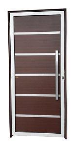 Porta Lambril Premium c/ Puxador Milão Escovado c/ Fechadura Rolete em Alumínio Mix Corten - Brimak Super 25