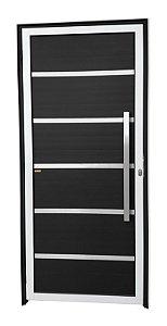 Porta Lambril Premium c/ Puxador Milão Escovado c/ Fechadura Rolete em Alumínio Mix Preto - Brimak Super 25