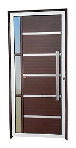 Porta Lambril Miraggio c/ Puxador Milão Escovado c/ Fechadura Rolete em Alumínio Mix Corten c/ Vidro Temperado - Brimak Super 25